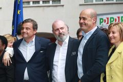 Nicola Zingaretti, Carlo Calenda, Stefano Bonaccini, PD konwencja, Modena, Maj 2019 obraz stock