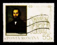 Nicolae Balcescu (1819-52) historiker, journalist, 120. Annivers royaltyfria bilder