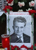 NICOLAE CEAUSESCU. Dozens of communist regime nostalgics, came to Ghencea Civil Cemetery, in Bucharest, Romania, to commemorate Nicolae Ceausescu's royalty free stock photo