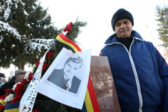 NICOLAE CEAUSESCU. Dozens of communist regime nostalgics, came to Ghencea Civil Cemetery, in Bucharest, Romania, to commemorate Nicolae Ceausescu's stock images