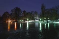 Nicolae Romanescu公园,在晚上 免版税库存照片
