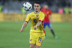 Nicolae Stanciu. Nicolae Nicusor Claudiu Stanciu midfielder of the Romanian National Football Team, pictured during the friendly match between Romania and Spain stock image