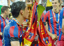 Nicolae Stanciu of Steaua Bucharest kisses the trophy Stock Photography