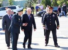 Nicolae Timofti, der Präsident von Moldau kommt in Chisinau-Denkmal an Stockfotografie