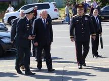 Nicolae Timofti, der Präsident von Moldau kommt in Chisinau-Denkmal an Lizenzfreie Stockfotos