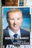 Nicolas Dupont-Aignan, French Presidential Electoral Campaign Po. STRASBOURG, FRANCE - APR 26, 2017: Official campaign posters of Nicolas Dupont-Aignan Stock Photo