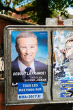 Nicolas Dupont-Aignan, French Presidential Electoral Campaign Po. STRASBOURG, FRANCE - APR 26, 2017: Official campaign posters of Nicolas Dupont-Aignan Royalty Free Stock Image