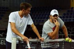 Nicolas Mahut i jego trener Thierry Ascione (FRA) Fotografia Stock
