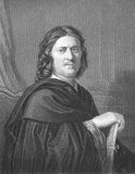 Nicolas Poussin. (1594-1665) on engraving from the 1800s. French painter in the classical style. Engraved by J.Pofselwhite from a picture by Poussin himself and Royalty Free Stock Photo