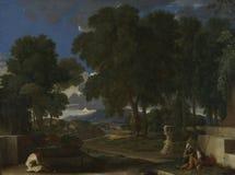 Nicolas Poussin - paysage avec un homme se lavant les pieds à une fontaine photographie stock libre de droits