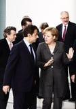 Nicolas Sarkozy, Angela Merkel Royalty Free Stock Photo