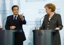 Nicolas Sarkozy, Angela Merkel Stock Photos