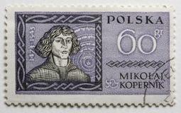 Nicolaus Copernicus auf einem Weinlesepfostenstempel lizenzfreie stockfotos