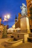Nicolaus Copernicus Monument at Night in Poland Stock Image