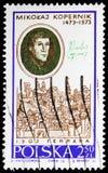 Nicolaus Copernicus, par Zinck Nora et vue de Ferrare, serie de Copernic, vers 1970 images stock