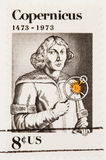 Nicolaus Copernicus Stamp. USA - CIRCA 1973: A stamp printed by USA shows the Nicolaus Copernicus with an astrolabe  rifle circa 1973 Stock Photo