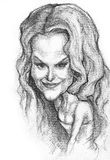Nicole Kidman caricature. A pencil-drawn caricature of the actress Nicole Kidman