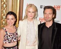 Nicole Kidman, Tatiana Maslany e Sebastian Stan na premier de filme do ` do contratorpedeiro do ` no festival de cinema internaci fotos de stock royalty free