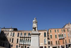 Nicolo Tommaseo statue, Venice. 2019. Nicolo Tommaseo was an Italian linguist, journalist and essayist royalty free stock photos