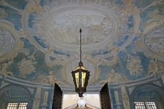Nicolosio Lomellini palace. Beautiful oval entrance-hall  with decorated  walls decorated walls and celiling in Nicolosio Lomellini  or Podesta palace in Genoa Stock Images