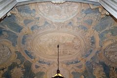 Nicolosio Lomellini palace. Beautiful oval entrance-hall  with decorated  walls decorated walls and celiling in Nicolosio Lomellini  or Podesta palace in Genoa Stock Photography