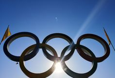 Free NICOPOL, UKRAINE - NOVEMBER 9, 2019: Olympic Rings On A Background Of Blue Sky. On The Sides Of The Rings Of The Olympics Are Royalty Free Stock Image - 163401836
