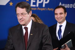 Nicos Anastasiades, Candidate for President of Cyprus. In Presidential Elections and Leader of the DISY Party at the special summit of the leaders of the right stock photo