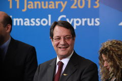 Nicos Anastasiades, Candidate for President of Cyprus. In Presidential Elections and Leader of the DISY Party at the special summit of the leaders of the right royalty free stock photos
