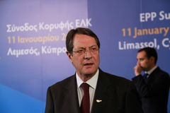 Nicos Anastasiades, Candidate for President of Cyprus. In Presidential Elections and Leader of the DISY Party at the special summit of the leaders of the right stock photography