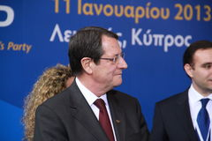 Nicos Anastasiades, Candidate for President of Cyprus. In Presidential Elections and Leader of the DISY Party at the special summit of the leaders of the right royalty free stock photo