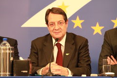 Nicos Anastasiades, Candidate for President of Cyprus. In Presidential Elections and Leader of the DISY Party at the special summit of the leaders of the right royalty free stock photography