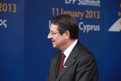 Nicos Anastasiades. Candidate for President of Cyprus in Presidential Elections and Leader of the DISY Party at the special summit of the leaders of the right royalty free stock images