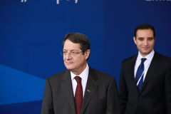 Nicos Anastasiades. Candidate for President of Cyprus in Presidential Elections and Leader of the DISY Party at the special summit of the leaders of the right royalty free stock image
