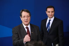 Nicos Anastasiades. Candidate for President of Cyprus in Presidential Elections and Leader of the DISY Party at the special summit of the leaders of the right royalty free stock photo