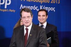 Nicos Anastasiades, concorrente presidencial. Fotos de Stock Royalty Free