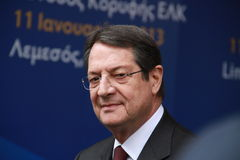 Nicos Anastasiades, Presidential Contender. Nicos Anastasiades, Candidate for President of Cyprus in Presidential Elections and Leader of the DISY Party at the stock images