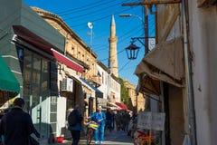 NICOSIA, CHIPRE - 3 DE DEZEMBRO: Rua de Arasta, uma rua turística Imagem de Stock