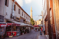 NICOSIA, CYPRUS - AUGUST 10: Arasta street, a touristic street l. Eading to an Selimiye mosque. Color toned image Stock Image