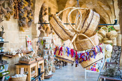 NICOSIA, CYPRUS - AUGUST 10, 2015: Straw basket souvenirs at Buyuk Han (The Great Inn) Stock Photo