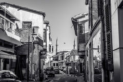 NICOSIA, CYPRUS - DECEMBER 3: Narrow street in old part of Nicos. Ia on December 3, 2015 Stock Photography