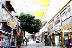 Nicosia street in Cyprus, and Cypriot memories of city street life and city people. City of Nicosia in Cyprus.Street photo of the market area with streets shops Stock Photo