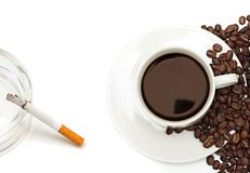 Nicotina e caffeina. Fotografie Stock Libere da Diritti