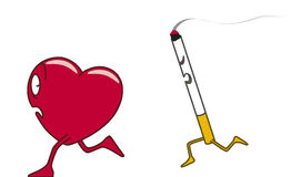 Nicotine. Scared heart fleeing away from a cigarette Stock Illustration