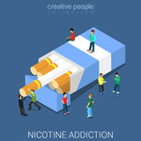 Nicotine addiction cigarette pack flat isometric vector 3d Stock Images
