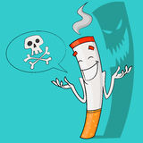 Nicotine is death. Vector illustration. insidious cigarette Stock Image
