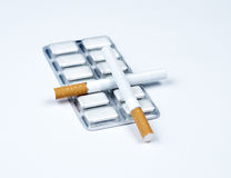 Nicotine gum and tobacco. Stock Photography