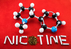 Nicotine molecular structure. Molecular structure of nicotine with cigarette Royalty Free Stock Photos