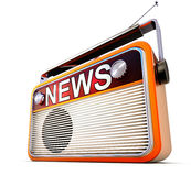 Nicrophone. 3D illustration of an radio with news icon Royalty Free Stock Image