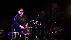 Nicu Dumitrescu. (drums) from Mihai Mărgineanu (singer) Band at New Years Eve 2014 concert organized by District 3, Bucharest stock photo