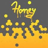 Nid d'abeilles avec le fond jaune de miel Illustration de vecteur Photographie stock libre de droits